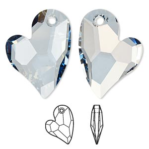focal, swarovski crystals, crystal passions, crystal blue shade, 36x26mm faceted devoted 2 u heart pendant (6261). sold individually.