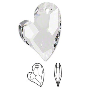 focal, swarovski crystals, crystal passions, crystal clear, 36x26mm faceted devoted 2 u heart pendant (6261). sold individually.