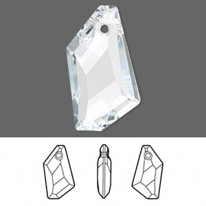 focal, swarovski crystals, crystal passions, crystal clear, 50x30mm faceted de-art pendant (6670). sold individually.