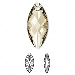 focal, swarovski crystals, crystal passions, crystal golden shadow, 30x14mm faceted navette pendant (6110). sold per pkg of 6.
