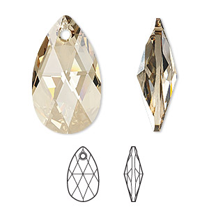 focal, swarovski crystals, crystal passions, crystal golden shadow, 38x22mm faceted pear pendant (6106). sold individually.