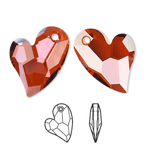 focal, swarovski crystals, crystal passions, crystal red magma, 36x26mm faceted devoted 2 u heart pendant (6261). sold individually.