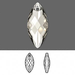 focal, swarovski crystals, crystal silver shade, 30x14mm faceted navette pendant (6110). sold per pkg of 36.