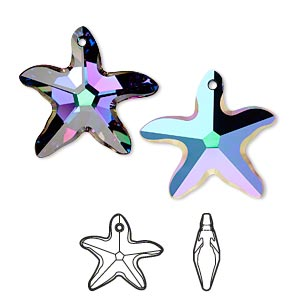focal, swarovski crystals with third-party coating, crystal passions, crystal electra, 30x28mm faceted starfish pendant (6721). sold individually.