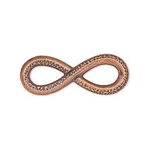 focal, tierracast, antique copper-plated pewter (tin-based alloy), 32x12mm two-sided textured and smooth infinity with cutouts. sold individually.