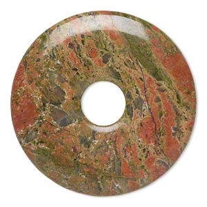 focal, unakite (natural), 40mm hand-cut round donut, b grade, mohs hardness 6 to 7. sold individually.