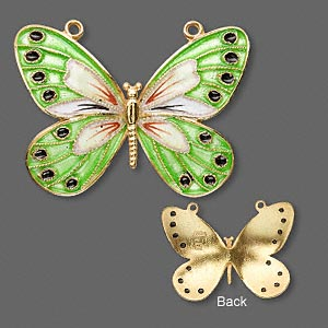 focal, vermeil with cloisonne, green, 36x27mm butterfly. sold individually.