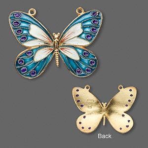 focal, vermeil with cloisonne, teal, 36x27mm butterfly. sold individually.