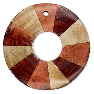 focal, wood / ipil ipil leaf / resin (natural / dyed / assembled), multicolored, 35mm single-sided round donut with lines. sold individually.