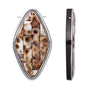 focal, wood / tiger cowrie shell / resin / aluminum (natural / assembled), black and clear, 2-3/4 x 1-1/2 inch single-sided diamond. sold individually.