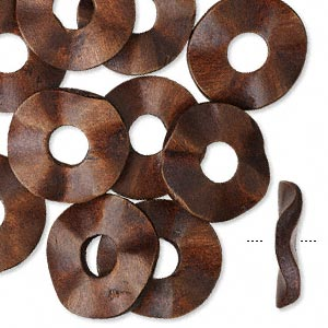 focal, wood (dyed), dark brown, 33mm hand-cut wavy round donut. sold per pkg of 10.