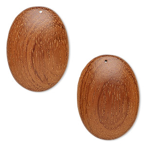 focal, wood (waxed), 40x29mm hand-cut domed oval. sold per pkg of 2.