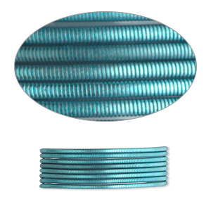 french wire, enamel-coated brass, teal, 0.7mm tube. sold per pkg of (2) 19-1/2 inch strands.