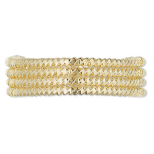 french wire, gold-plated copper, 2mm fancy spiral. sold per approximately 13-1/2 to 15 inch strand.