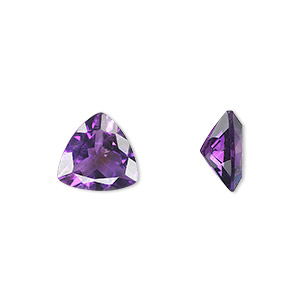 gem, amethyst (natural), light to medium, 10x10x10mm faceted triangle, a grade, mohs hardness 7. sold individually.