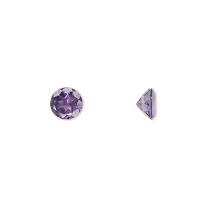 gem, amethyst (natural), light to medium, 6mm faceted round, a grade, mohs hardness 7. sold individually.