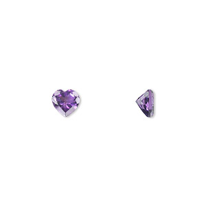 gem, amethyst (natural), light to medium, 6x6mm faceted heart, a grade, mohs hardness 7. sold individually.