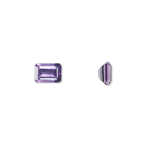 gem, amethyst (natural), light to medium, 7x5mm faceted emerald-cut, a grade, mohs hardness 7. sold individually.