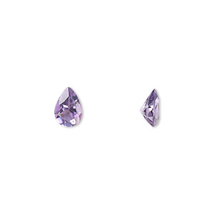 gem, amethyst (natural), light to medium, 7x5mm faceted pear, a grade, mohs hardness 7. sold individually.