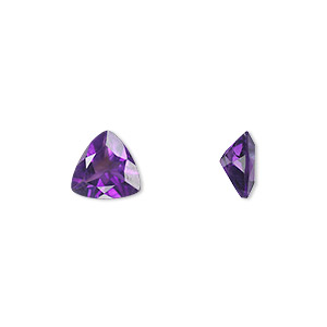 gem, amethyst (natural), light to medium, 8x8x8mm faceted triangle, a grade, mohs hardness 7. sold individually.