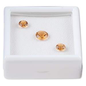 gem, citrine (heated), (2) 6mm and (1) 8mm faceted round, a grade, mohs hardness 7. sold per 3-piece set.