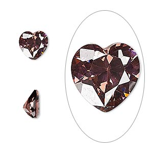 gem, cubic zirconia, alexandrite purple, 8x8mm faceted heart, mohs hardness 8-1/2. sold individually.