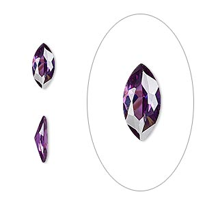 gem, cubic zirconia, amethyst purple, 10x5mm faceted marquise, mohs hardness 8-1/2. sold individually.