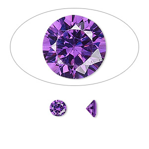 gem, cubic zirconia, amethyst purple, 5mm faceted round, mohs hardness 8-1/2. sold per pkg of 2.