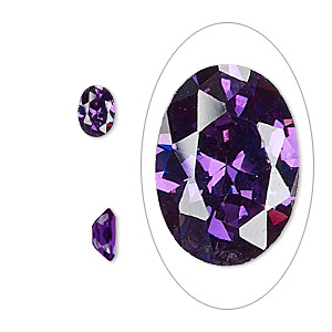 gem, cubic zirconia, amethyst purple, 7x5mm faceted oval, mohs hardness 8-1/2. sold per pkg of 2.