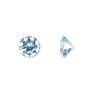 gem, cubic zirconia, aqua blue, 10mm faceted round, mohs hardness 8-1/2. sold individually.