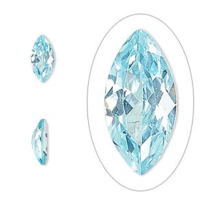 gem, cubic zirconia, aqua blue, 10x5mm faceted marquise, mohs hardness 8-1/2. sold individually.