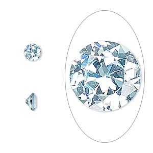 gem, cubic zirconia, aqua blue, 5mm faceted round, mohs hardness 8-1/2. sold per pkg of 2.