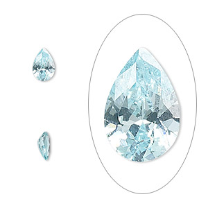 gem, cubic zirconia, aqua blue, 6x4mm faceted pear, mohs hardness 8-1/2. sold per pkg of 2.