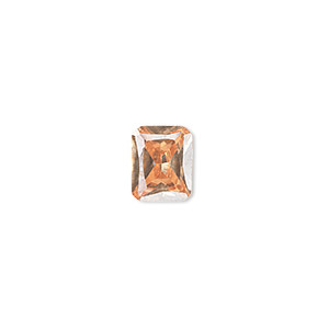 gem, cubic zirconia, champagne, 10x8mm faceted emerald-cut, mohs hardness 8-1/2. sold individually.