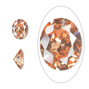 gem, cubic zirconia, champagne, 10x8mm faceted oval, mohs hardness 8-1/2. sold individually.