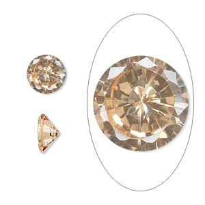 gem, cubic zirconia, champagne, 8mm faceted round, mohs hardness 8-1/2. sold individually.