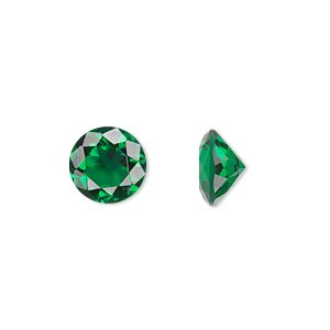 gem, cubic zirconia, emerald green, 10mm faceted round, mohs hardness 8-1/2. sold individually.
