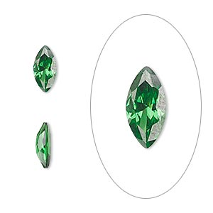 gem, cubic zirconia, emerald green, 10x5mm faceted marquise, mohs hardness 8-1/2. sold individually.