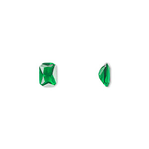 gem, cubic zirconia, emerald green, 6x4mm faceted emerald-cut, mohs hardness 8-1/2. sold per pkg of 2.