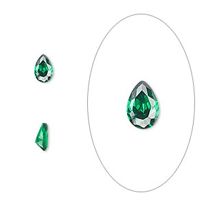 gem, cubic zirconia, emerald green, 6x4mm faceted pear, mohs hardness 8-1/2. sold per pkg of 2.