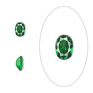 gem, cubic zirconia, emerald green, 7x5mm faceted oval, mohs hardness 8-1/2. sold per pkg of 2.