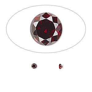 gem, cubic zirconia, garnet red, 2.5mm faceted round, mohs hardness 8-1/2. sold per pkg of 10.