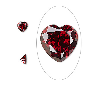 gem, cubic zirconia, garnet red, 5x5mm faceted heart, mohs hardness 8-1/2. sold per pkg of 2.