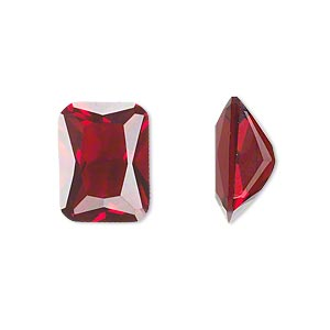 gem, cubic zirconia, garnet red, 8x6mm faceted emerald-cut, mohs hardness 8-1/2. sold per pkg of 2.