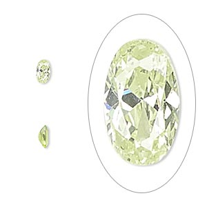 gem, cubic zirconia, peridot green, 5x3mm faceted oval, mohs hardness 8-1/2. sold per pkg of 5.