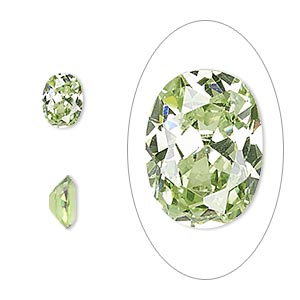 gem, cubic zirconia, peridot green, 8x6mm faceted oval, mohs hardness 8-1/2. sold per pkg of 2.