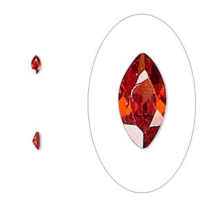 gem, cubic zirconia, ruby red, 4x2mm faceted marquise, mohs hardness 8-1/2. sold per pkg of 5.