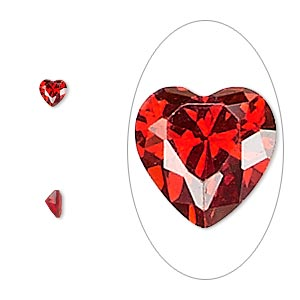 gem, cubic zirconia, ruby red, 4x4mm faceted heart, mohs hardness 8-1/2. sold per pkg of 5.