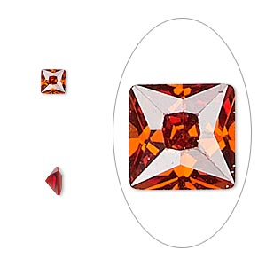 gem, cubic zirconia, ruby red, 4x4mm faceted square, mohs hardness 8-1/2. sold per pkg of 2.