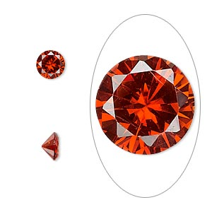 gem, cubic zirconia, ruby red, 6mm faceted round, mohs hardness 8-1/2. sold per pkg of 2.
